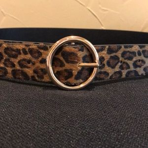 Reversible cheetah print belt with gold buckle